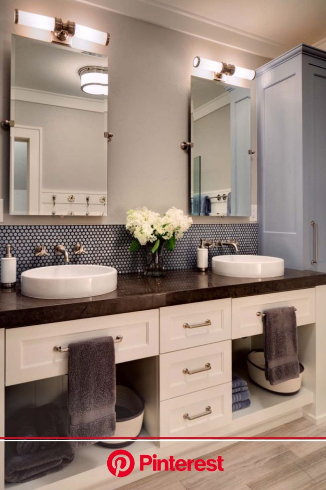 This is a big,cool Bathroom for a Beach House.It would be so easy to keep clean w/ tile floors. . … | Bathroom vanity decor, Bathroom vanity designs,