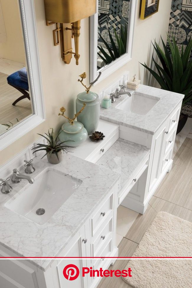 "De Soto 82"" Double Vanity Set, Bright White with Makeup Table, 3 CM Carrara Marble Top - James Martin 825-V82-BW-DU-CAR   Master bathroom vanity,"