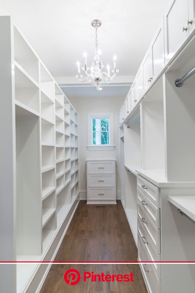 kate.h.design // Long and narrow closet space with white cabinets and Visual Comfort George chandelier. | Narrow closet design, Closet remodel, Closet