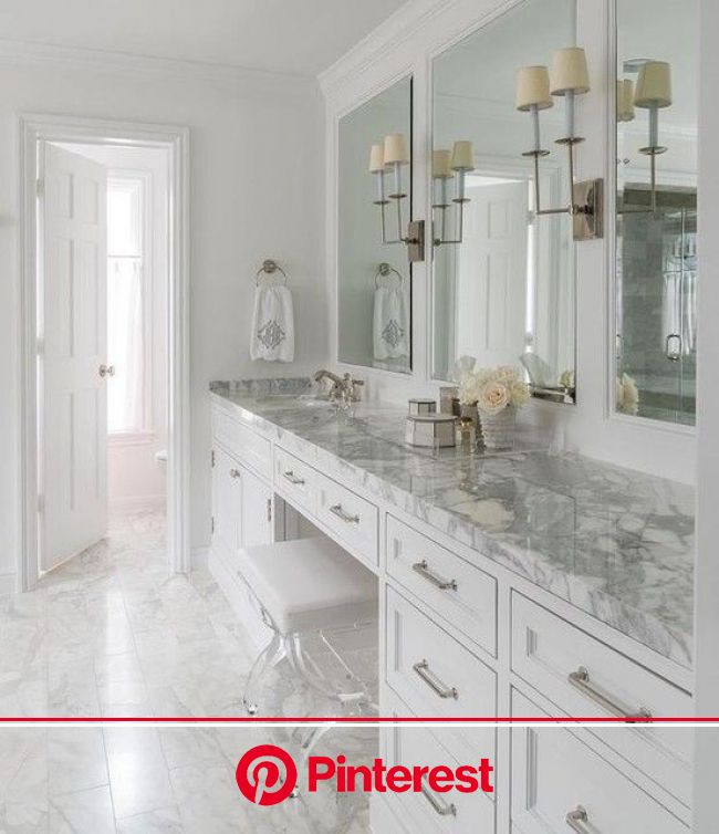 Good colors; not sure if we will have room for a vanity seat in the center - if not it is o…   White master bathroom, Master bathroom decor, Bathroom
