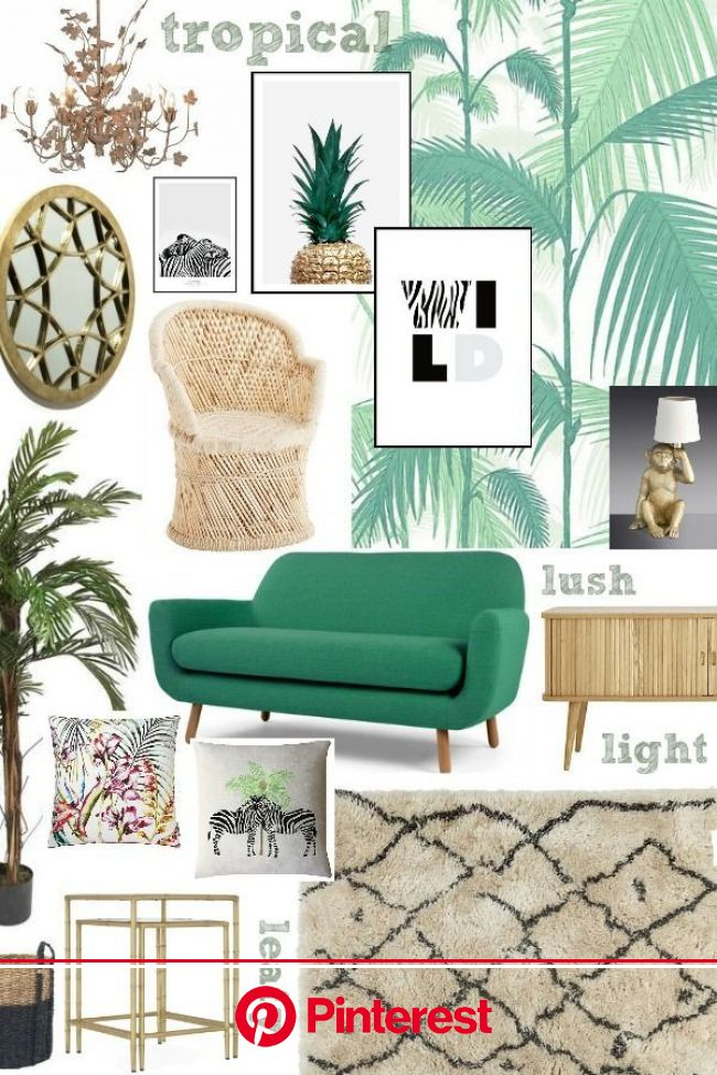 Moodboard Monday - A Fresh and Leafy Living Room Scheme | Tropical living room, Living room green, Tropical home decor