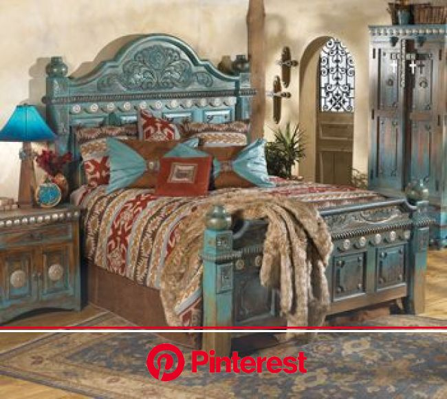 Beautifully hand-carved bedroom furniture with raised-panel design and large silver concho embellishments in a rich thr… | Western bedroom, Home, West
