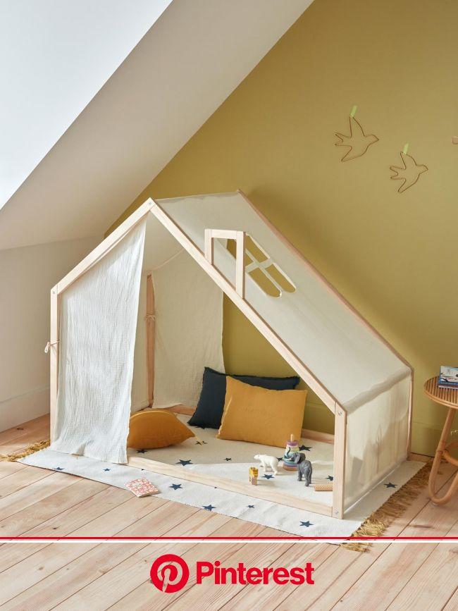 Kinder-Zelt aus Holz und Baumwolle von Cyrillus in elfenbeinfarben - Gratis Rückversand! Interieurkleidung j… | Kinder zimmer, Kinder zelte, Kinderzim