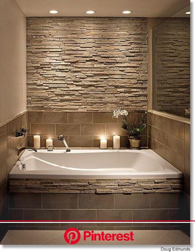 Bathroom tub ideas with Stone tile Wall #dropintub #bathtub #tub #ideas #decorhomeideas   Bathroom stone wall, Bathrooms remodel, Bathroom design