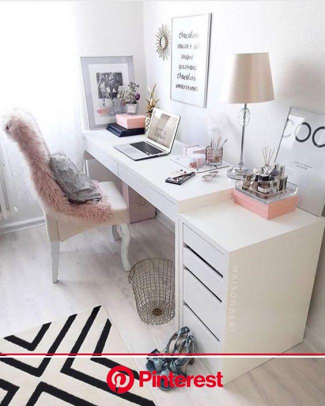 12 Ideias de Decoração para Escritórios Femininos - Comer Blogar e Amar | Decoração de escritório feminino, Ideias de decoração, Decoração da sala