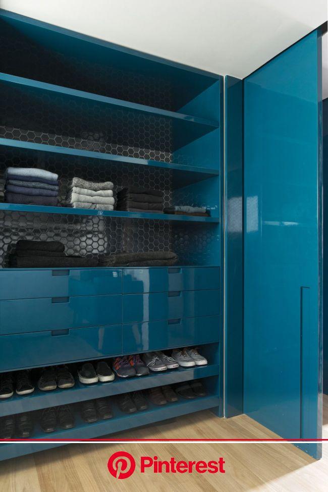 A São Paulo Apartment Inspired by Petroleum Blue | Wardrobe design, Wardrobe closet storage, Design