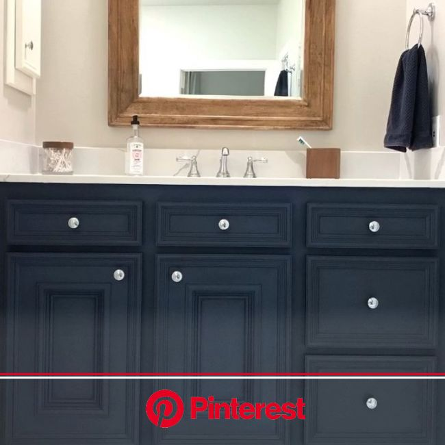 Blue DIY Chalk Paint Bathroom Vanity Makeover [Video] [Video] | Painted vanity bathroom, Blue bathroom vanity, Shabby chic bathroom vanity