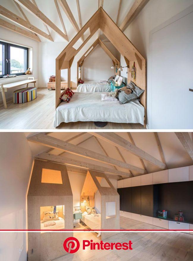 This kids bedroom has each bed enclosed within its own little house. | Chambre enfant, Chambre bébé, Décoration chambre enfant